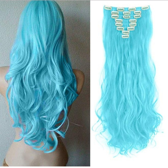 Accessories Hair Extension 8 Piece 24 Curly Wavy 7 Sky Blue Poshmark